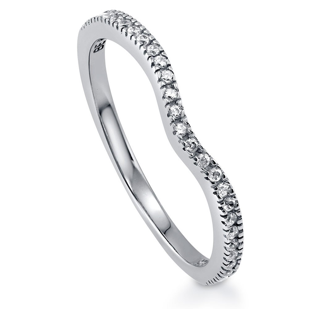 BERRICLE Rhodium Plated Sterling Silver Cubic Zirconia CZ V Shaped Curved Half Eternity Ring Size 7.5