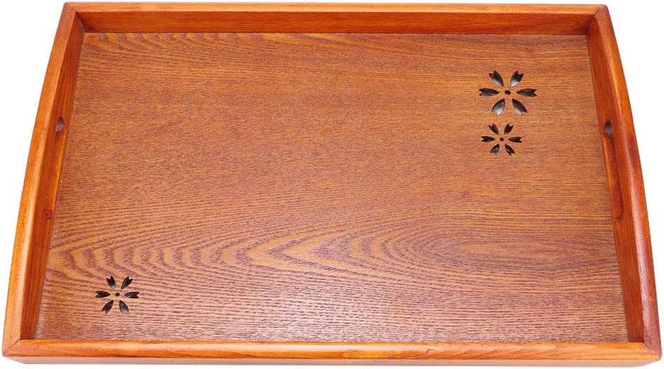 Wood Serving Tray with Handles, Rectangle Food Tray for Tea/Coffee/Snacks/Water Cup/Drinks 16.5 x 11.0 x 1.0inch