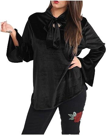 Islander Fashions Blusa Suelta de Terciopelo para Mujer Tie Neck OL Top Camisa Informal de Manga Larga para Mujer S / 3XL: Amazon.es: Ropa y accesorios