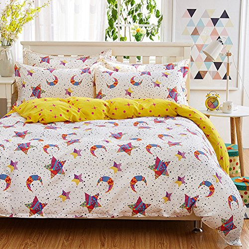 Mumgo Home Texitle Bedding Set for Adult Kids Star Moon Pattern Duvet Cover Set 100% Cotton,4pc/Set,Full Queen(No Comforter) by WarmGo