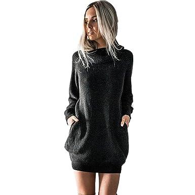 Longra Damen Strickkleid Basic Herbst Winter Strick Pullover Sweater Party  Tunika Longshirt Mini Kleid Strickkleid Pullover a9d1eeeb5e
