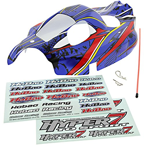(Hobao 1/8 Hyper 7 TQ Ofna Blue, RED & Yellow Body, Decals Shell Cover Tube )