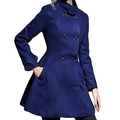 a910baa2e86 BYWX Women Plus Size Plus Size Winter Fall Double Breasted Solid Swing  Dress Pea Coat Outwear
