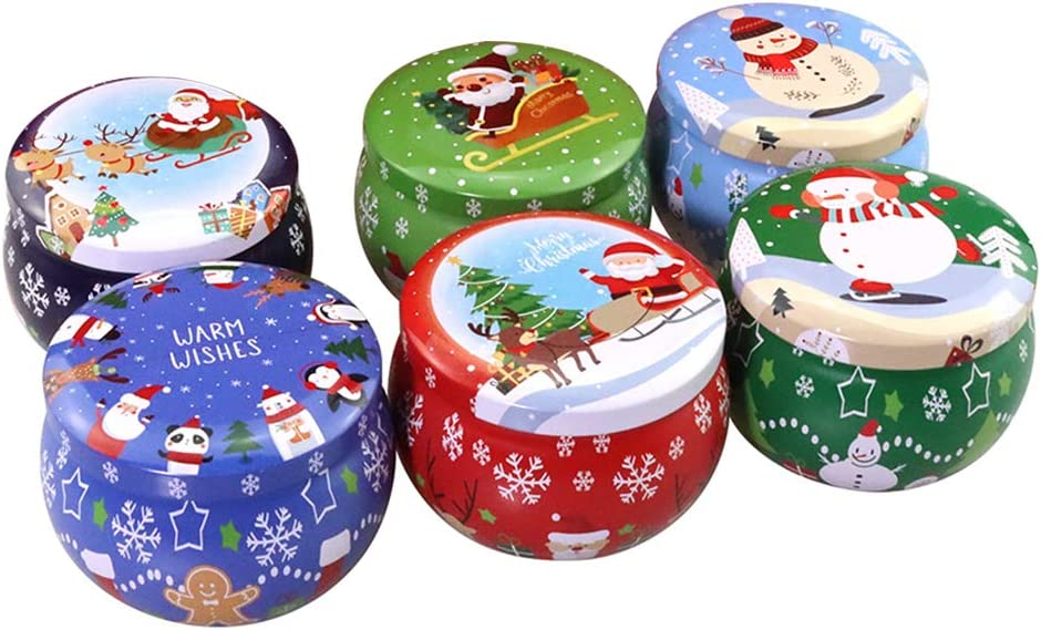 Cabilock 6PCS Christmas Candy Box Tinplate Empty Tins Retro Tins for DIY Candles, Dry Storage, Spices, Tea, Candy, Party Favors(Random Pattern)