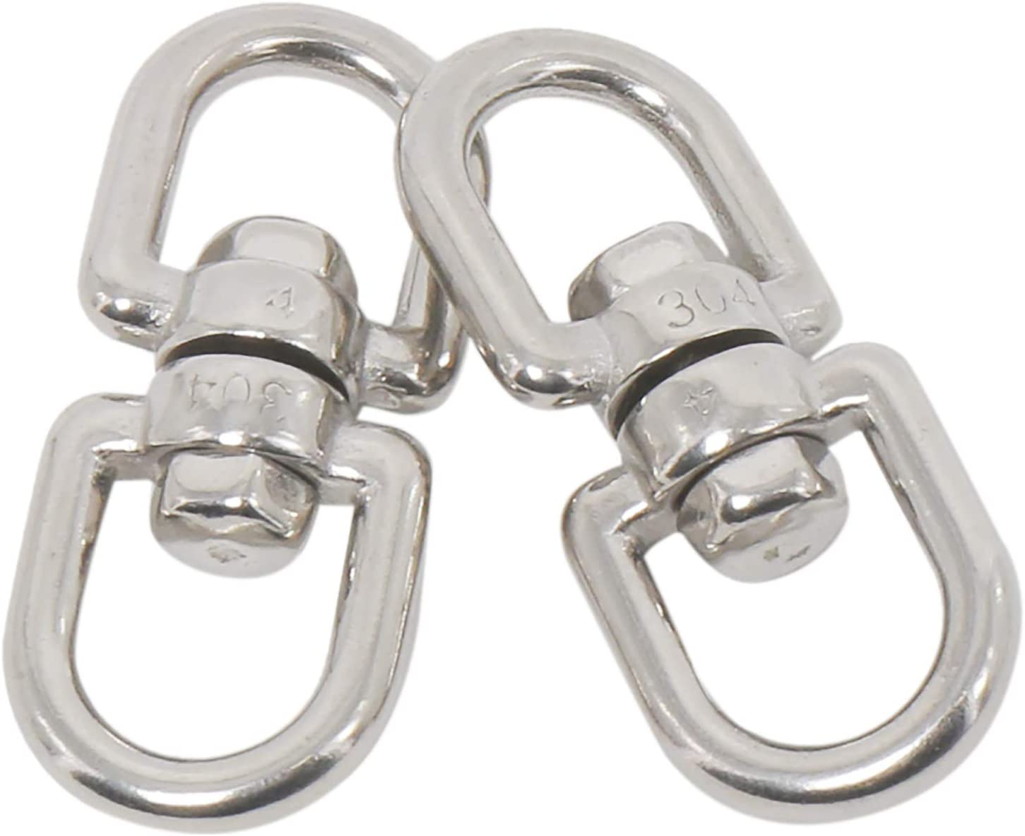 Amarine Made M4 Double Ended Swivel Eye Hook 304 Stainless Steel Eye to Eye Swivel Shackle Ring Connector