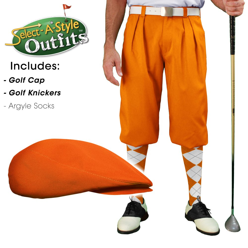 Golf Knickers Mens Select-A-Style Outfit - Orange - Waist 32 - Sock - NY/OR by Golf Knickers (Image #3)