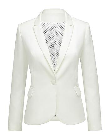 7de2230b35b LookbookStore Women White Notched Lapel Pocket Button Work Office Blazer Jacket  Suit Size S
