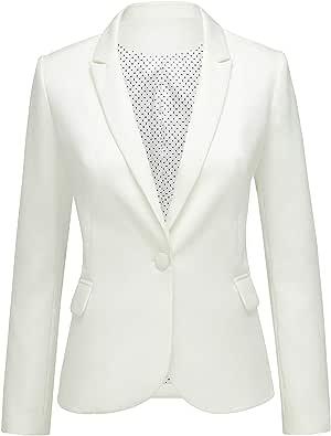 Lookbook Store Womens Notched Lapel Pocket Button Work Office Blazer Jacket Suit