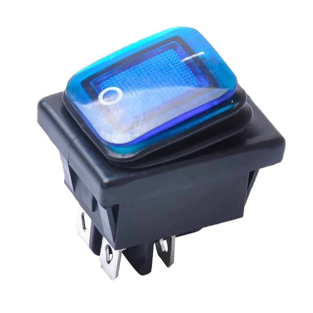 Non-brand 4 Pin on-Off-Auto-Boots-beleuchteter Rocker-Kippschalter Wasserdicht Gelb