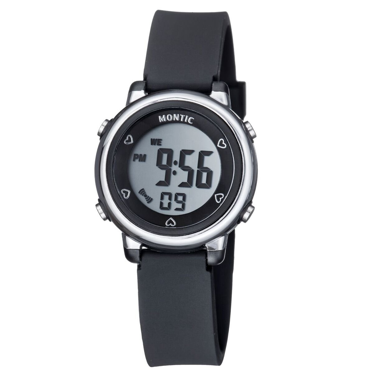 Black Digital Watch, Casual Sports Multi function with Alarm and Stopwatch Water Resistant Montic Watch by Montic