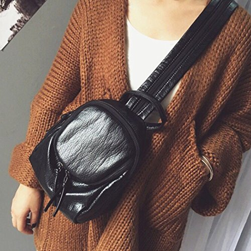 Black Shoulder Leather Leisure Backpack School Sling Pack Handbag Fairysan Travel Chest Bag Small Women's ngOE5Wvxq4