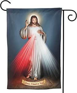 BCQJNB Double Sided Divine Mercy Design Welcome Garden Flag for Yard Outdoor Decoration