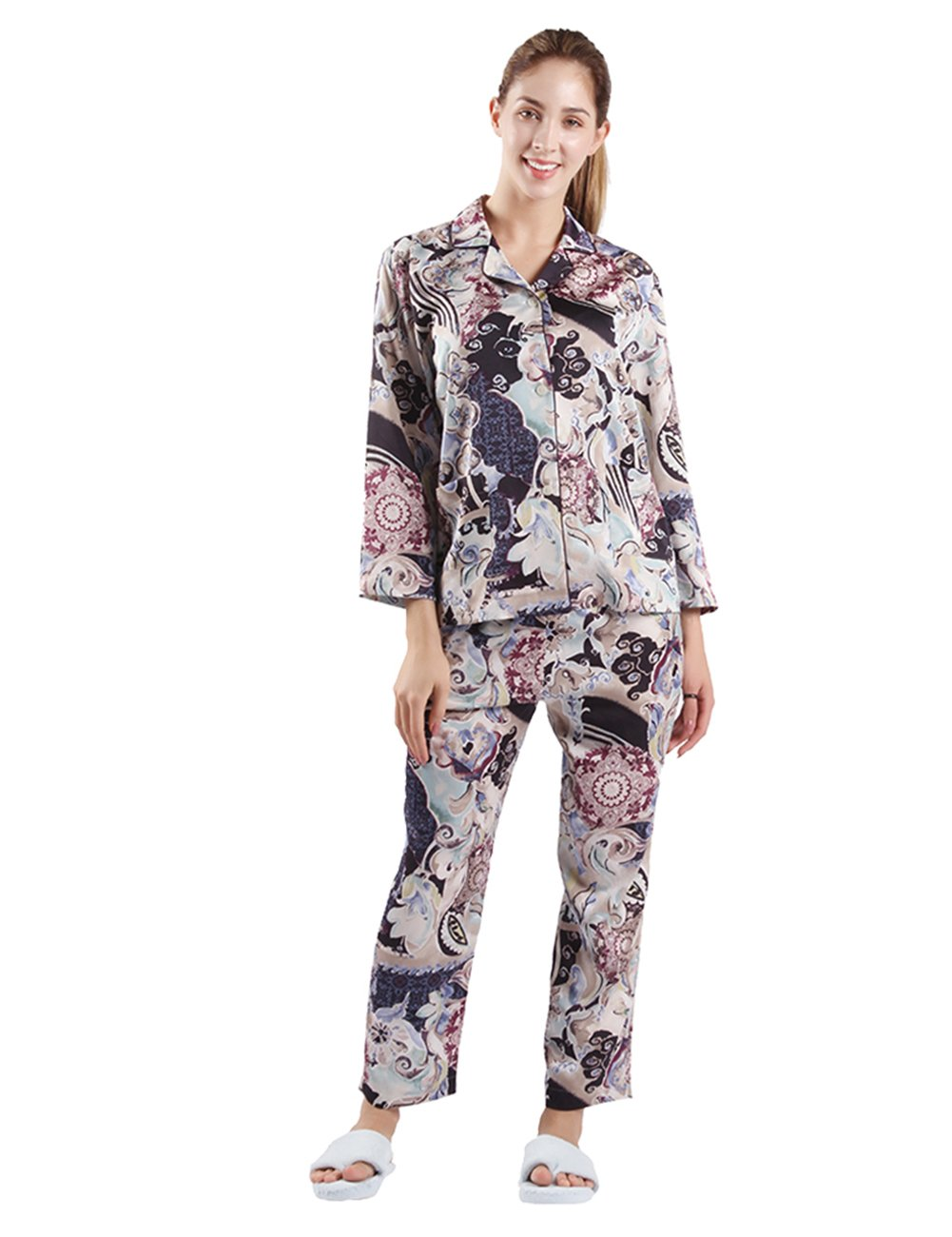 2 Set Pajamas for Women, DD DEMOISELLE Womens Comfort Sleepwear Long Sleeve Pant Pajama Set Purple Floral Size S