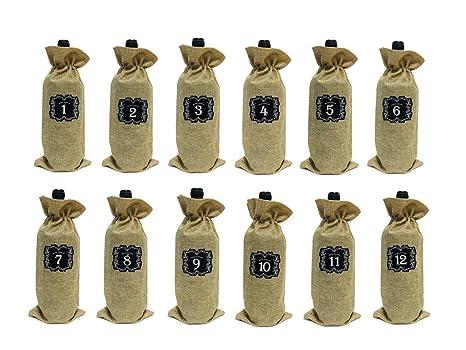 Amazon.com: 12 bolsas de vino de arpillera con cordón, bolsa ...