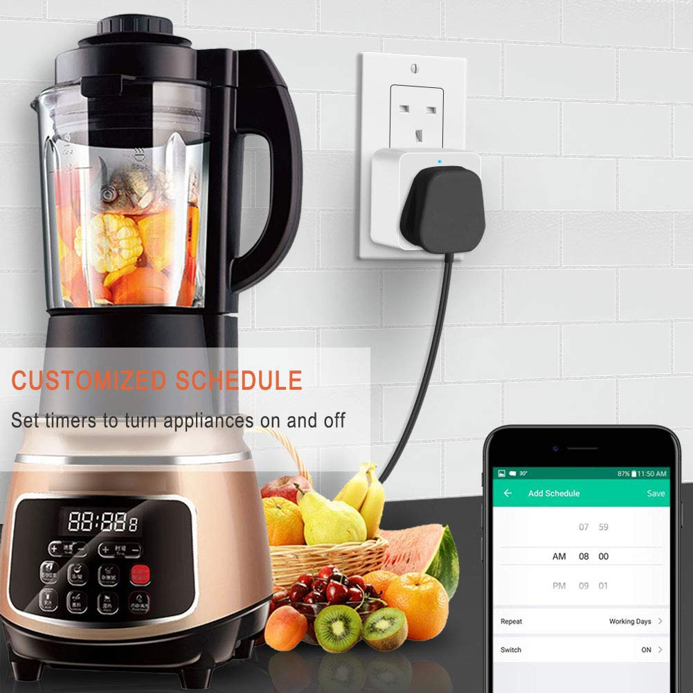 Smart WiFi Power Strip APP Remote Voice Individual Control with  Alexa Google Home Assistant 3 AC 6 USB Extension Lead Cord Timer via Android iOS Smartphone Tablets Works with WiFi 2.4GHz