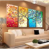 Amazon Price History for:Unframed Large HD 4 Pieces Colorful Tree Abstract Oil Paintings Wall Art Picture Modern Home Decor Living Room or Bedroom Canvas Print Painting DIY Murals