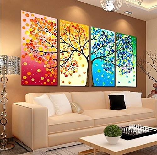 GEVES Unframed 4 Pieces Colorful Seasons Tree of Life Giclee Print Paintings Wall Art Prints Picture Modern Home Decor for Living Room or Bedroom Painting