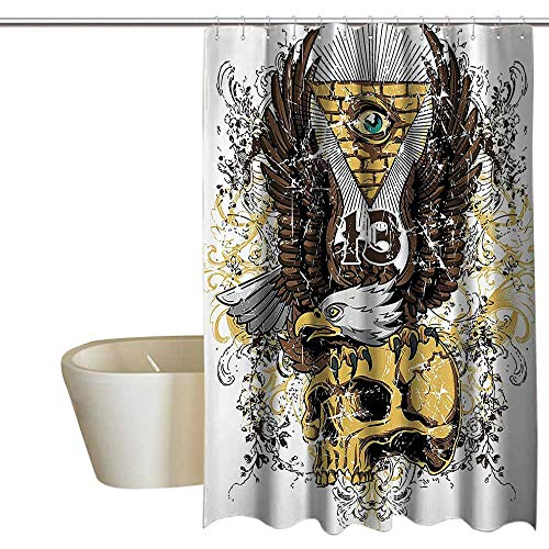 Tattoo Decor Simple Shower Curtain American Eagle Wings Wide Open Top of Skull Carrying Brick Wall with Eye No Chemical Odor, Rust Proof Grommets 55
