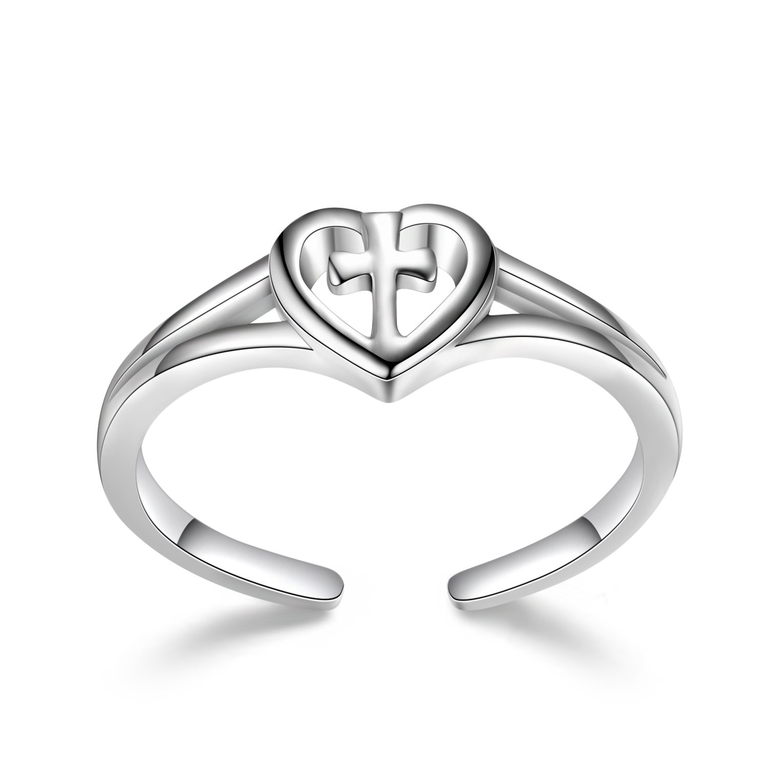 Sterling Silver Love Cross Rings Adjustable Open Polished Christian Heart Promise Anniversary Rings for Her, Size 7 by LUHE (Image #5)