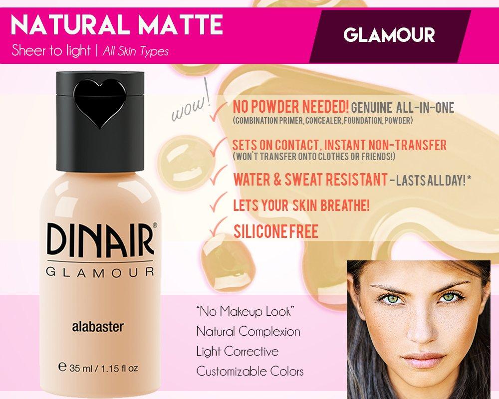 Dinair Airbrush Makeup Foundation Medium Shades GLAMOUR Natural, Light coverage, Matte