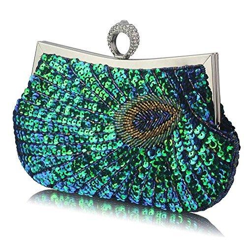 TrendStar - Cartera de mano para mujer A - Green Peacock Feather Clutch