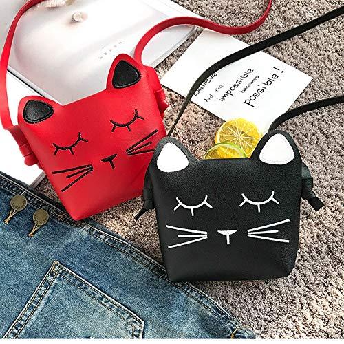 Borang 2 Pack Little Girls Purses Cute Cat Shoulder Crossbody Bag (Red and Black)