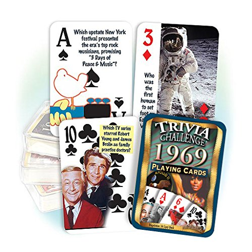 50th Birthday Gifts - Flickback Media, Inc. 1969 Trivia Playing Cards: 50th Birthday or 50th