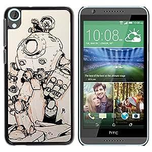 Be Good Phone Accessory // Dura Cáscara cubierta Protectora Caso Carcasa Funda de Protección para HTC Desire 820 // robot sci-fi metal futuristic sketch