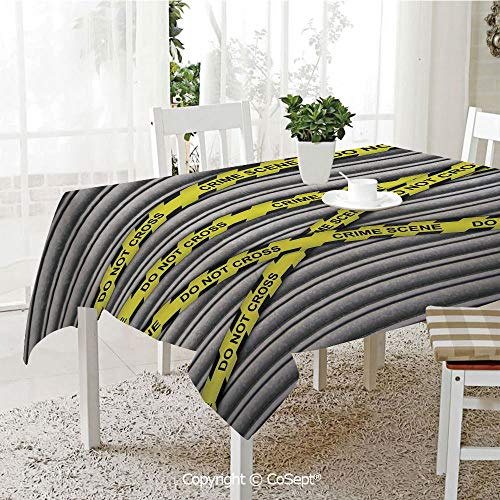 SCOXIXI Rectangle Tablecloth,Crime Scene Investigation Do Not Pass Yellow Wraps Quotes Artwork Print,Great for Table,Parties,Holiday Dinner(60.23
