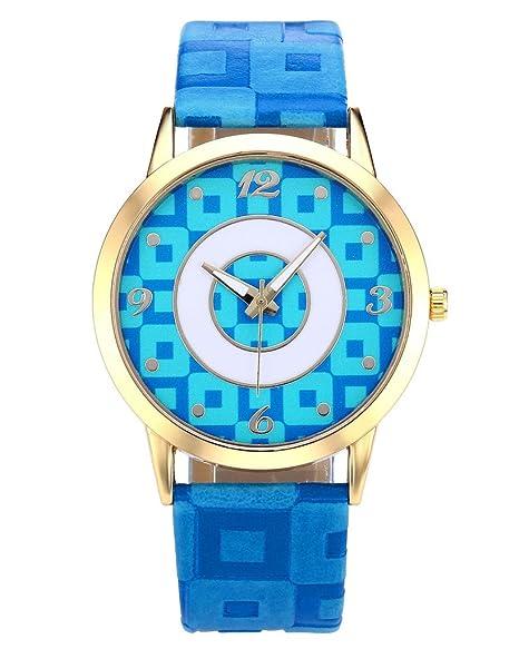 jsdde Relojes, Fashion Cuadros Cuadrados Reloj de Pulsera Oro Caja Chica Mujer de Cuero PU