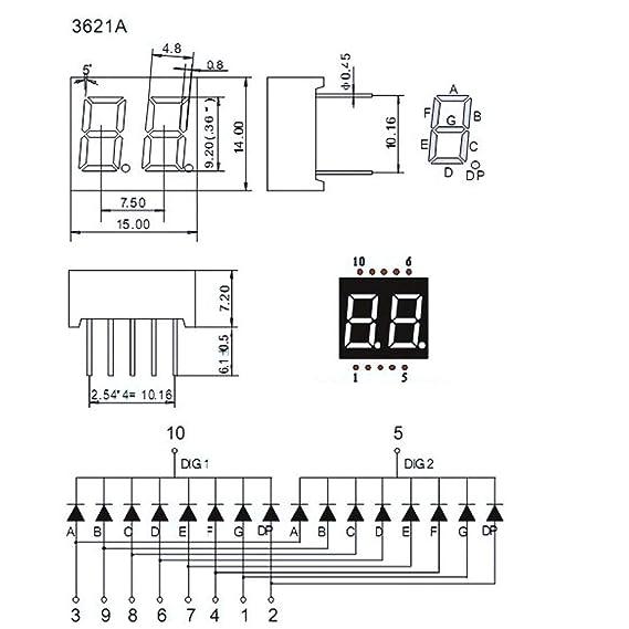 Amazon.com: uxcell Common Cathode 10 Pin 2 Bit 7 Segment 0.59 x 0.55 on