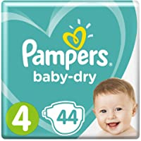 Pampers Baby-Dry Nappies, Size 4 Toddler (9kg-15kg), 44 Nappies, Up to 12 hours of overnight dryness