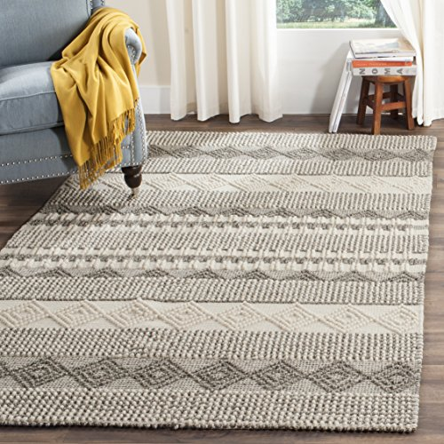 (Safavieh NAT102A-4 Natura Collection Handmade and Ivory Wool Area Rug, 4' x 6', Grey )