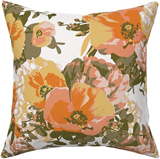 Roostery Throw Pillow, Paint Numbers Painterly Floral Flowers Vintage Modern Mod Print, Velvet, Knife Edge Accent Pillow 18in x 18in with Insert