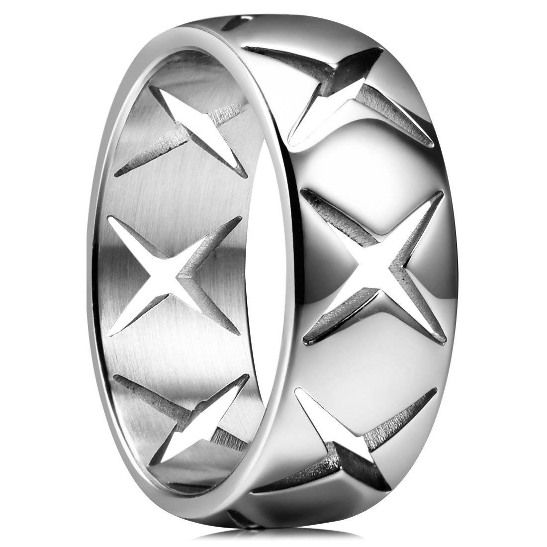 King Will TIME 8mm 316 Stainless Steel Wedding Band Original Color Ring with Cross Hollow(10.5)