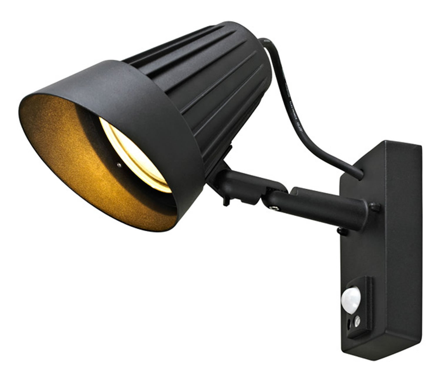 Blooma Heracles Outdoor Wall Spotlight With Pir Sensor Large Black Wiring Diagram Uk Exterior Lighting Adjustable Garden Lamp 42w 625 Lumen Ip44 Mains Operated Outside