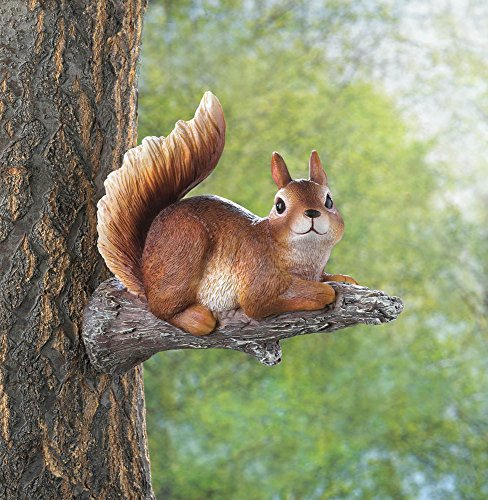 - Playful Lounging Squirrel Garden Figurine Mounts to Tree
