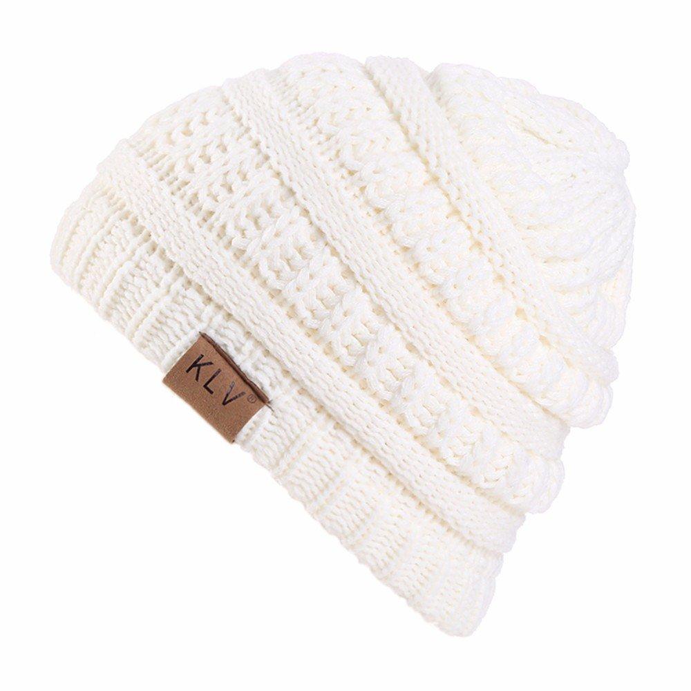 HULKAY Children's Caps Premium Cute Soft Stretch Winter Trendy Warm Wool Knitted Hat(White)