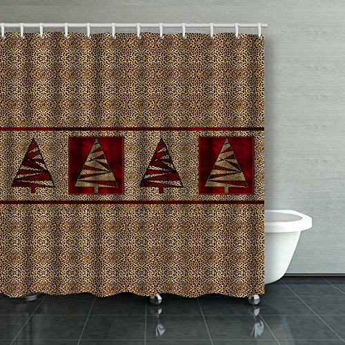 Family Unique Decorative Custom Xmas Shower Curtains Deep Red Hues With Cheetah Waterproof Polyester Fabric Home Decor Bath Curtain Decor Bathroom Design Decorations 72X72 Inches