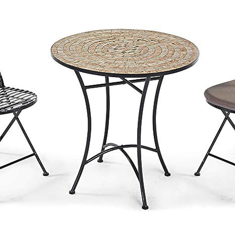 Pureday Table de Jardin en métal avec Plaque de mosaïque, 70 ...