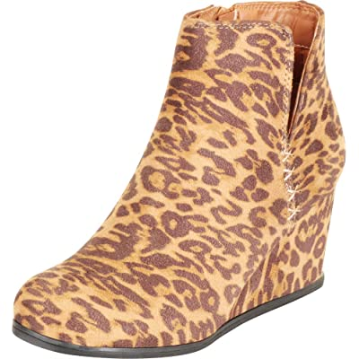 Cambridge Select Women's Side V Cutout Chunky Mid Wedge Heel Ankle Bootie | Ankle & Bootie