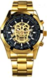 Wrath Skull Collection Gold Automatic Mechanical Watch for Men's & Boys (Without Battery for Life).
