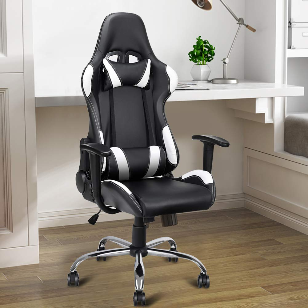 Swivel Recliner Chair, WATERJOY Office Desk Recliner Gliding Chair High-Back Chair Adjustable Ergonomic Executive Swivel PU Leather Office Task Computer Chair with Headrest and Lumbar Support White by WATERJOY