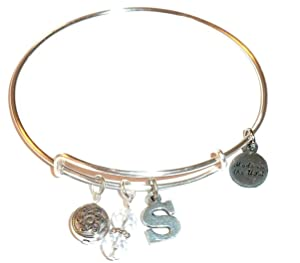 Initial Expandable Wire Bangle Bracelet, in the Alex and Ani Style (S)