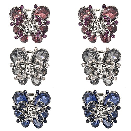 - Carede 1.2 inch Rhinestone Butterfly Bow Jaw Hair Clips,Crystal Hair Claw Clip Hair Clamp Barrettes for Girls Women,Pack of 6