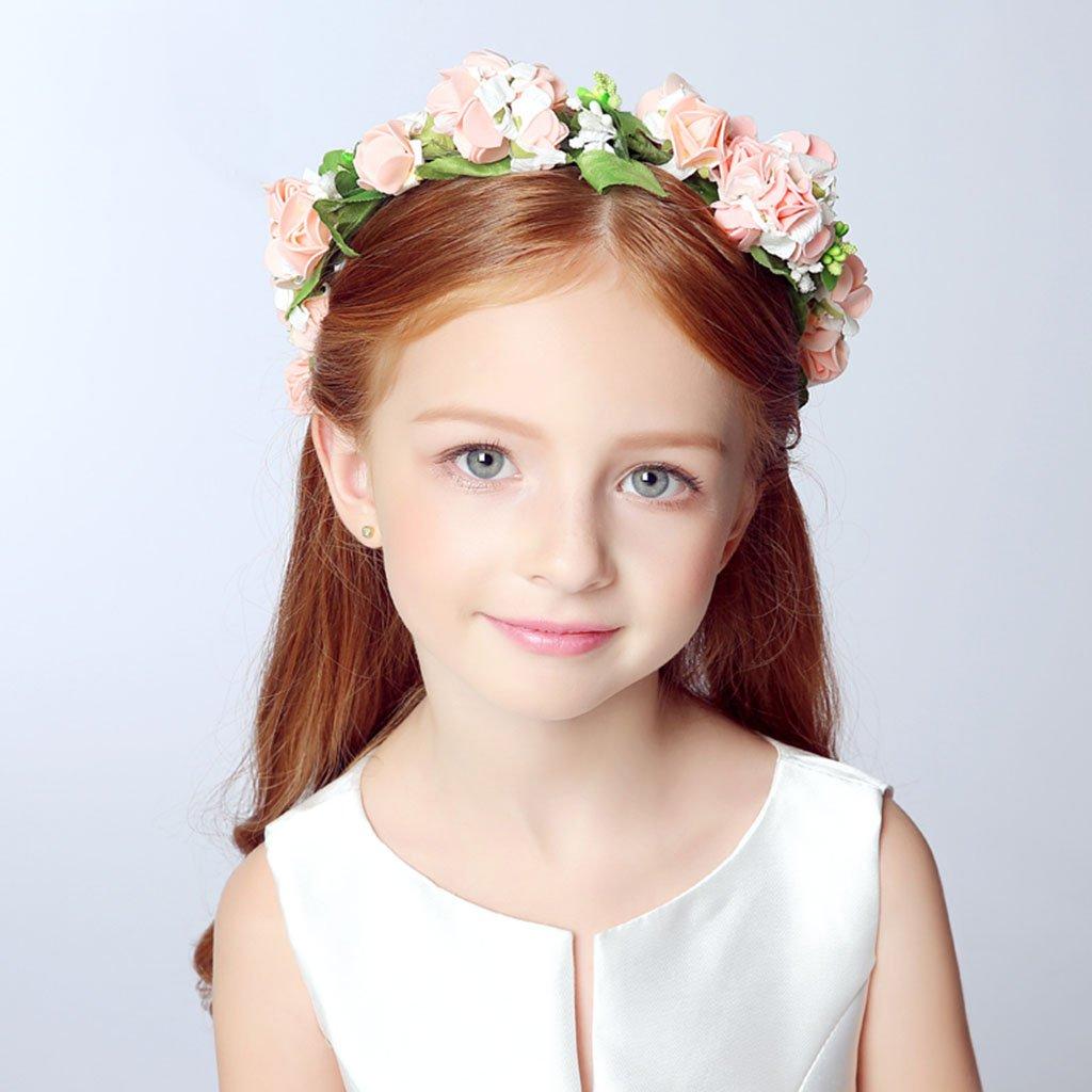Wreath Child Flower, Headband Flower Garland Handmade Wedding Bride Party Ribbon Headband Wristband Hairband -Pink/White (Color : Pink)