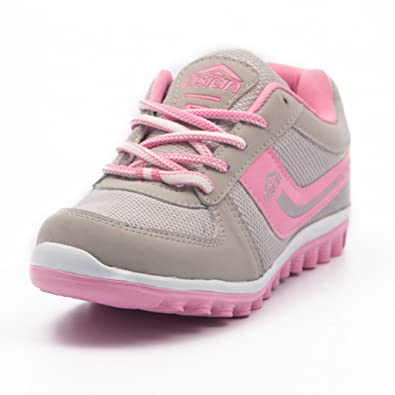 59a3ebe18706 Asian Shoes Women s Light Grey And Pink Running Shoes -9 Uk  Amazon.in   Shoes   Handbags