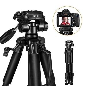 ESDDI Camera Tripod 55'' Travel Lightweight Aluminum Tripod for Camera DSLR Canon, Nikon, Sony, Samsung, Olympus with Carry Bag-11lbs(5KG) Load