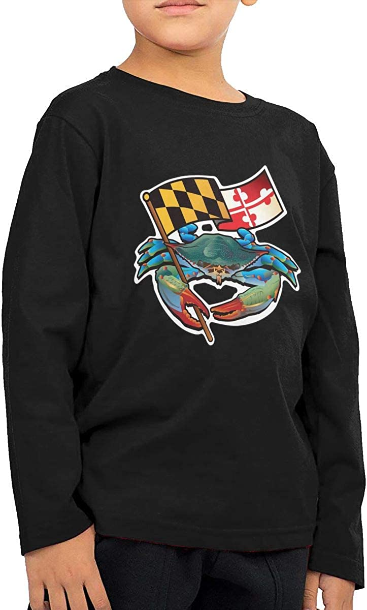 WZMD Blue Crab with Maryland Flag Childrens Long Sleeve T-Shirt for Boys Girls