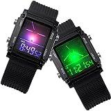 Better Dealz Dual-Display Militär Uhr Military Sportuhr Digital LED 6-Leucht Silikon Quarz Herren Armbanduhr Schwarz